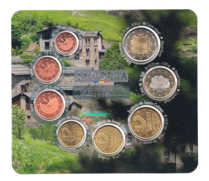 (EUR24.CofBU&FDC.2018.Cof-BU.16191) BU coin set Andorra 2018 Obverses (zoom)