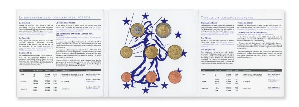 Brilliant Uncirculated coin set France 2019 (inside) (zoom)
