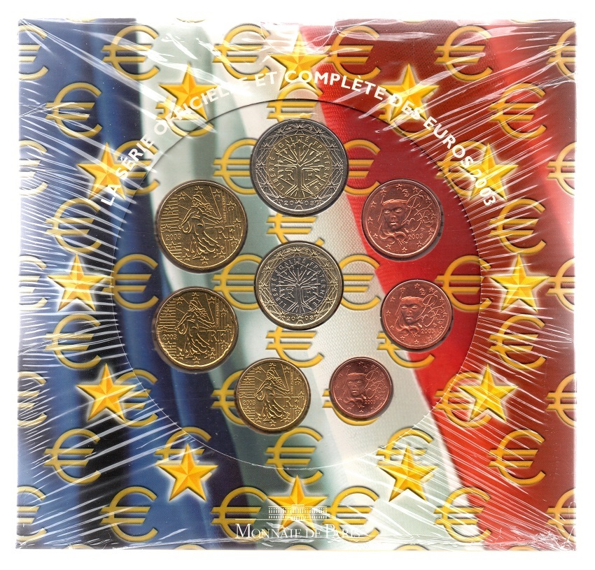 (EUR07.CofBUFDC.2003.Cof-BU.000000001) BU coin set France 2003 Front (zoom)