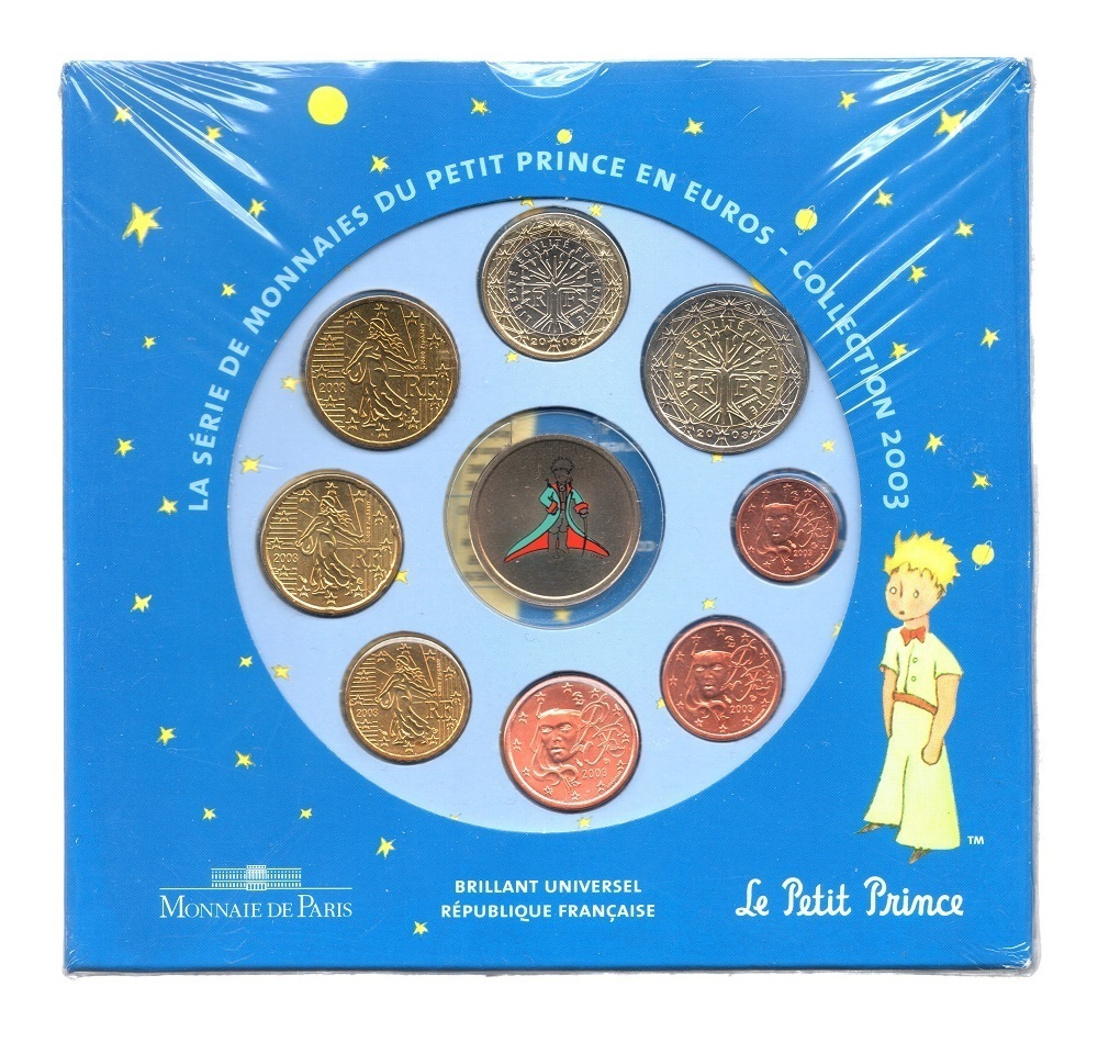 (EUR07.CofBUFDC.2003.Cof-BU.2.000000001) BU coin set France 2003 - The Little Prince Front (zoom)