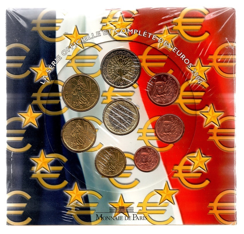 (EUR07.CofBUFDC.2004.Cof-BU.000000001) BU coin set France 2004 Front (zoom)