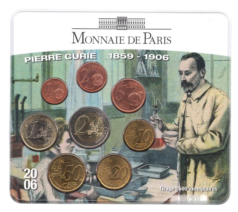 (EUR07.CofBUFDC.2006.M-S15.310) BU mini set France 2006 - Pierre Curie Front (zoom)