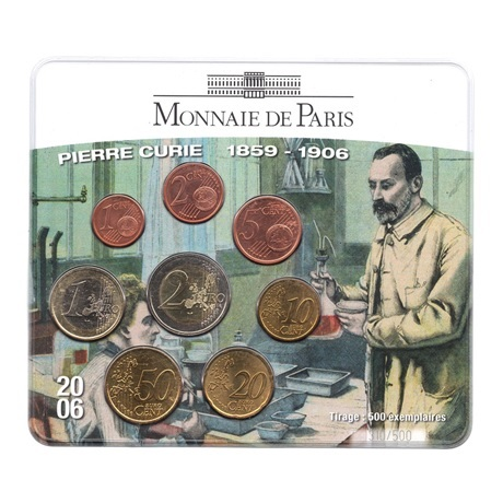 (EUR07.CofBU&FDC.2006.M-S15.310) Mini-set BU France 2006 - Pierre Curie Recto