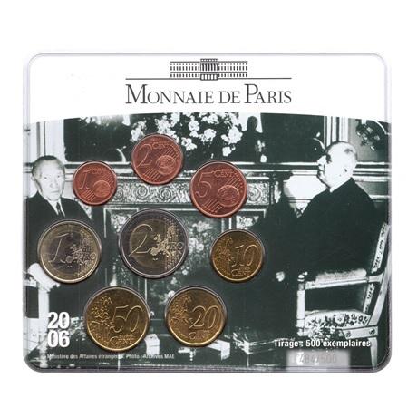 (EUR07.CofBU&FDC.2006.M-S18.484) Mini-set BU France 2006 - Amitié franco-allemande (De Gaulle et Adenauer) Recto