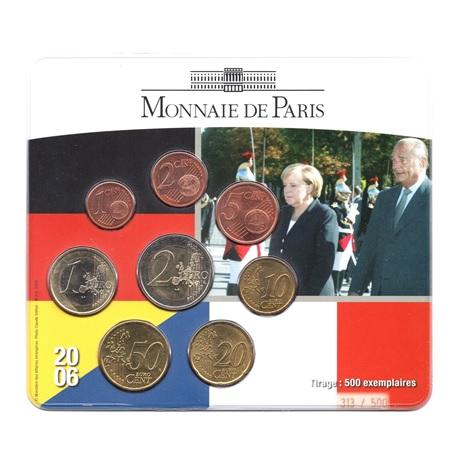 (EUR07.CofBU&FDC.2006.M-S20.313) Mini-set BU France 2006 - Amitié franco-allemande (Chirac et Merkel) Recto