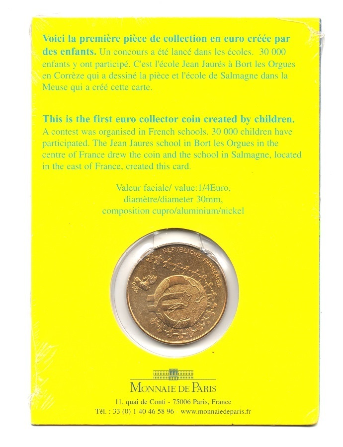 (EUR07.ComBUBE.2002.25.BU_.COM1_.000000001) 0.25 euro France 2002 BU - Euro created by children Back (zoom)