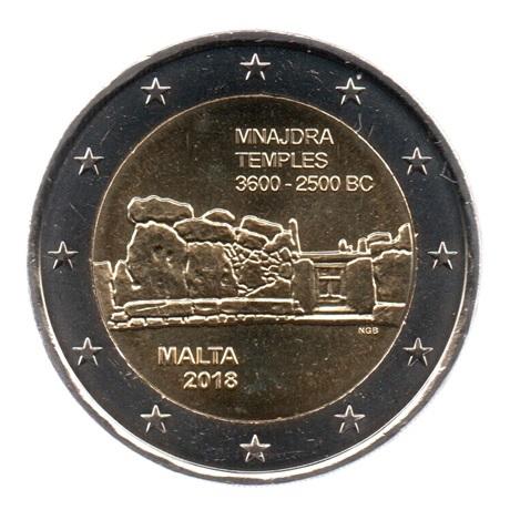 (EUR13.200.2018.COM1.spl.000000002) 2 euro commémorative Malte 2018 - Mnajdra Avers