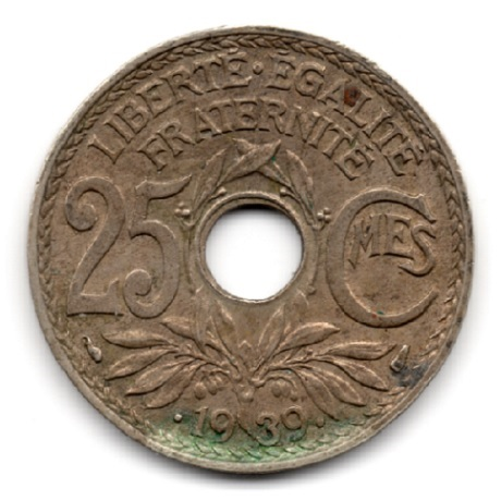 (FMO.025.•1939•.16.2.000000001) 25 centimes Lindauer, maillechort •1939• Revers