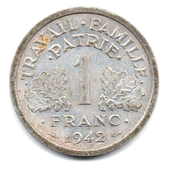 (FMO.1.1942.23.1.ttb.000000003) 1 Franc Francisca, heavyweight 1942 Reverse (zoom)