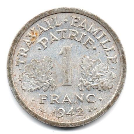(FMO.1.1942.23.1.ttb.000000003) 1 Franc Francisque, lourde 1942 Revers