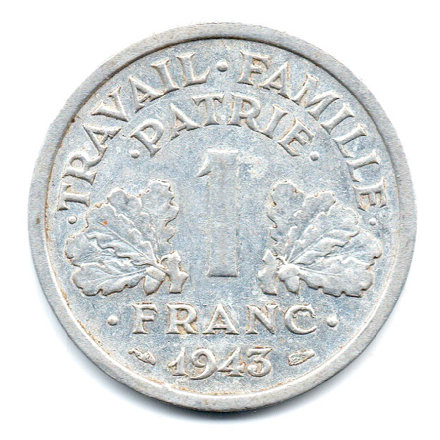 (FMO.1.1943.24.2.tb.plus.000000001) 1 Franc Francisca, lightweight 1943 Reverse (zoom)
