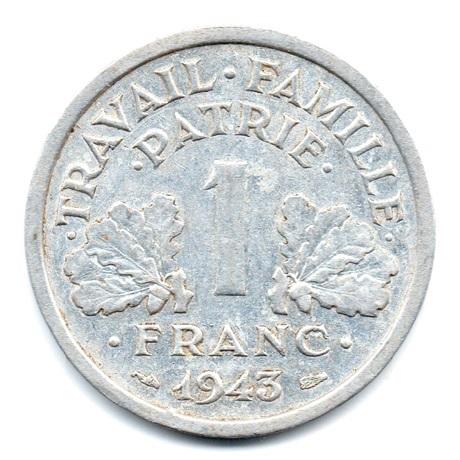 (FMO.1.1943.24.2.tb.plus.000000001) 1 Franc Francisque, légère 1943 Revers