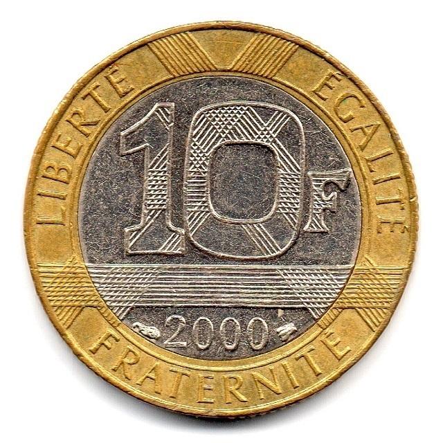 (FMO.10.2000.16.16.ttb.000000001) 10 Francs Genius in Bastille Place 2000 Reverse (zoom)