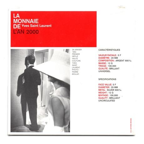 (FMO.5.2000.BU&BE.COM1.10.000000001) 5 Francs Yves Saint-Laurent 2000 - Argent BU Verso