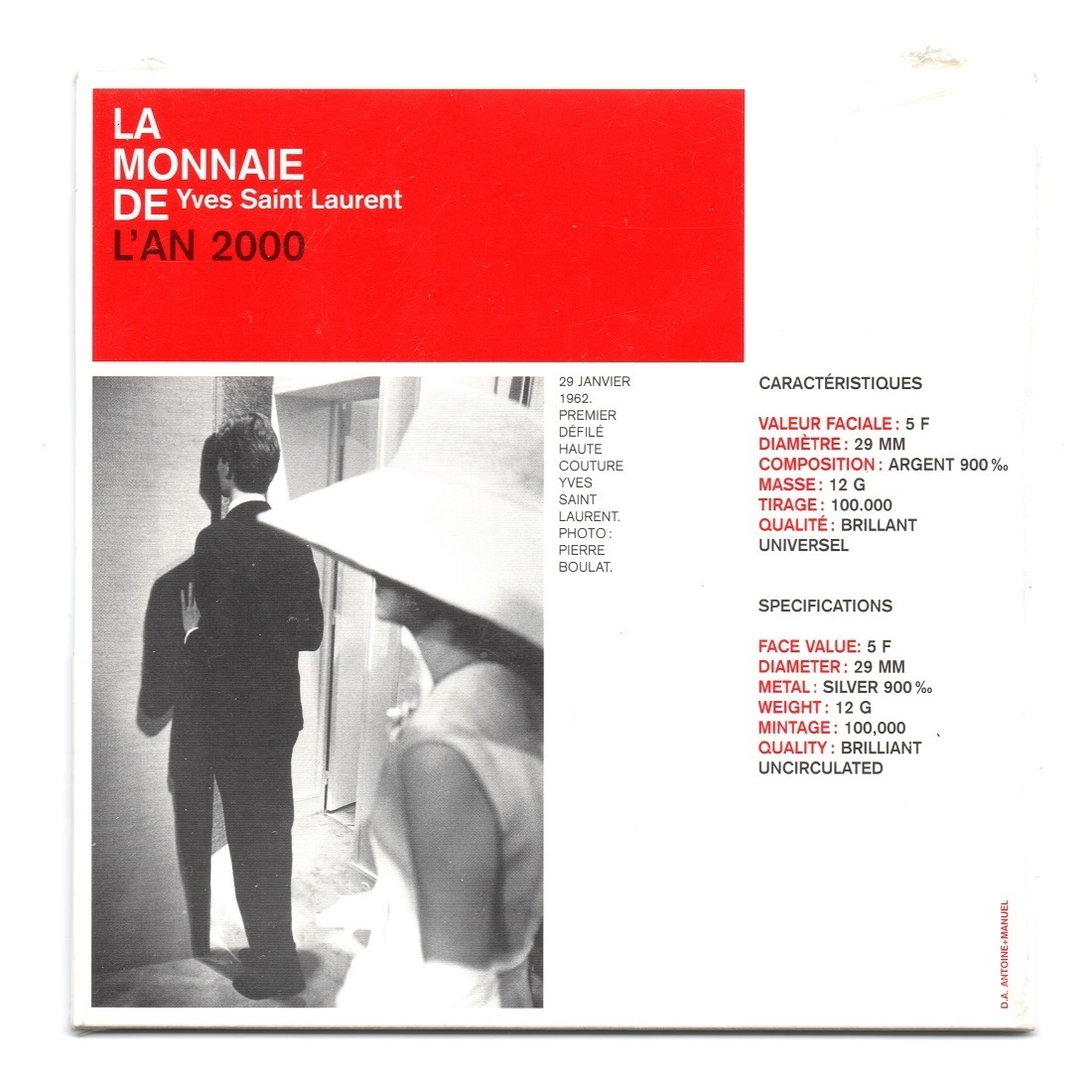 (FMO.5.2000.BUBE_.COM1_.10.000000001) 5 Francs Yves Saint-Laurent 2000 - BU silver Back (zoom)