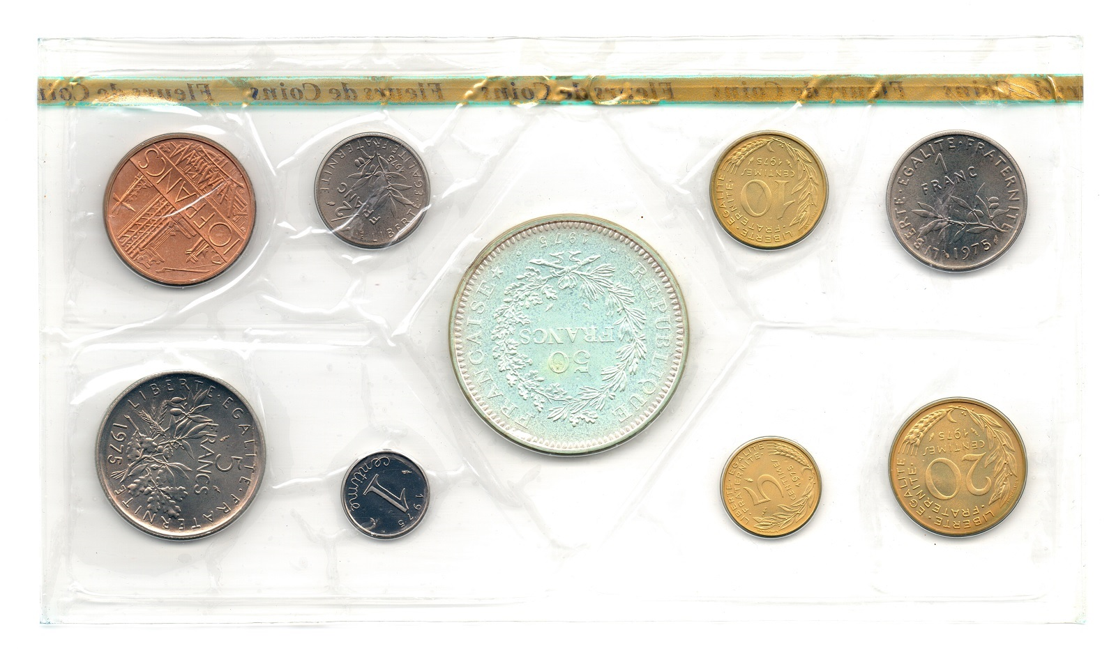 (FMO.CofBU_.1975.Cof-FDC.000000001) FDC coin set France 1975 Reverses (zoom)