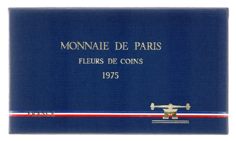 (FMO.CofBU_.1975.Cof-FDC.000000001) FDC coin set France 1975 (front view of the box) (zoom)