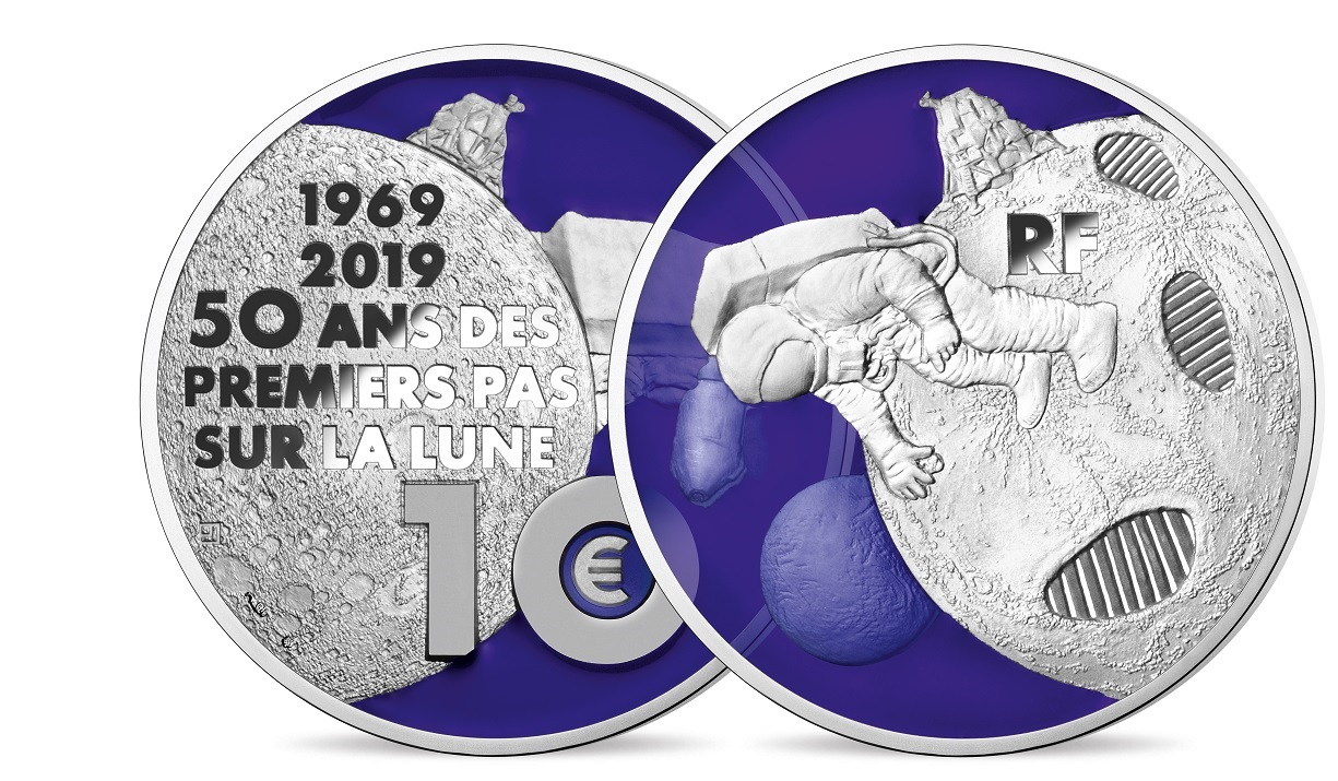 10 euro France 2019 Proof silver - First step on the moon (transparency of obverse) (zoom)
