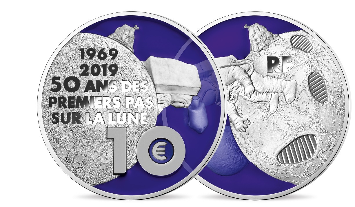10 euro France 2019 Proof silver - First step on the moon (transparency of reverse) (zoom)