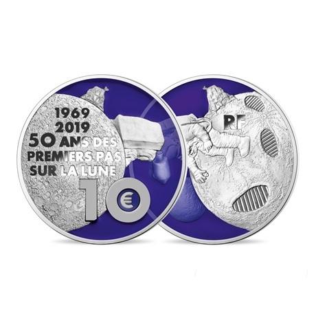 10 euro France 2019 argent BE - Premiers pas sur la lune (transparence revers)