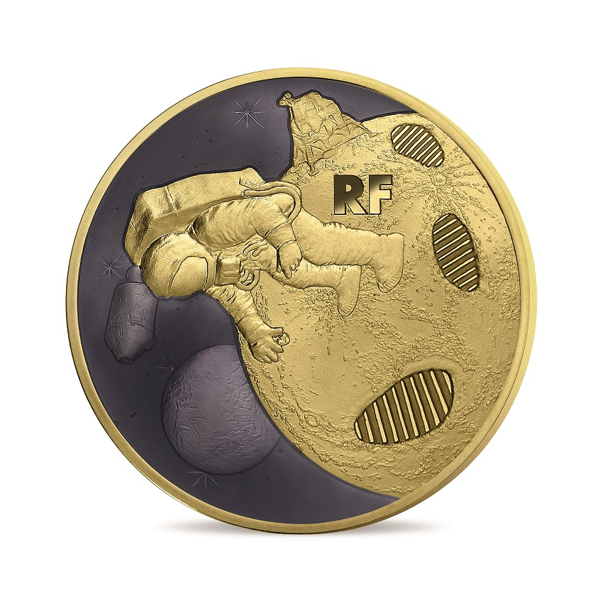 200 euro France 2019 Proof gold - First step on the moon Obverse (zoom)