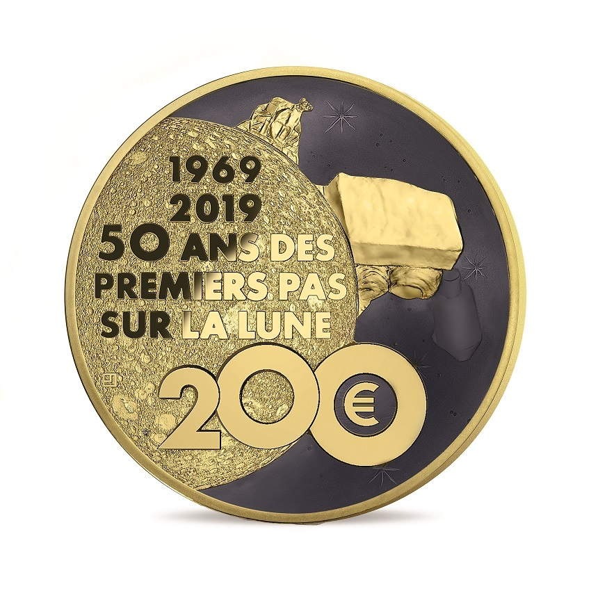 200 euro France 2019 Proof gold - First step on the moon Reverse (zoom)