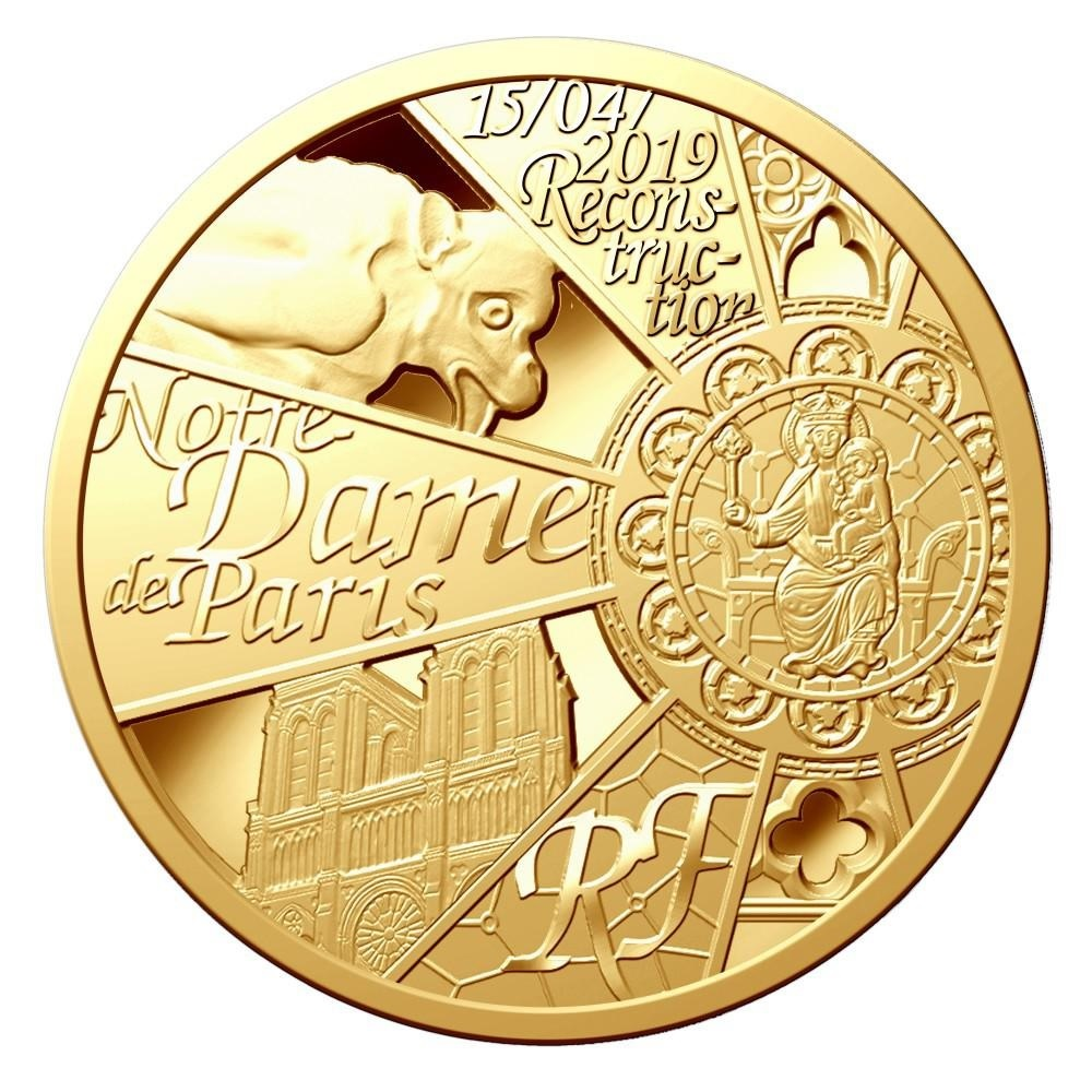 200 euro France 2019 Proof gold - Reconstruction of Notre-Dame de Paris Obverse (zoom)