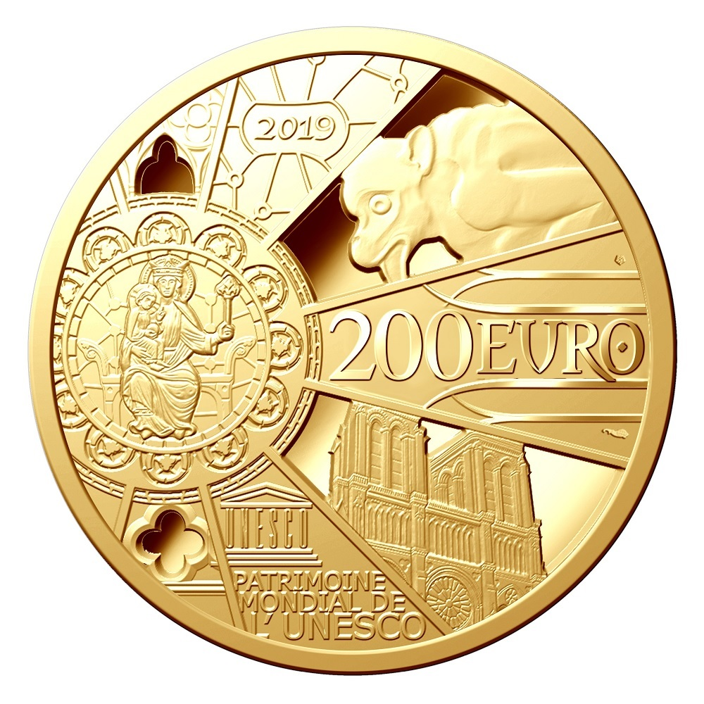 200 euro France 2019 Proof gold - Reconstruction of Notre-Dame de Paris Reverse (zoom)