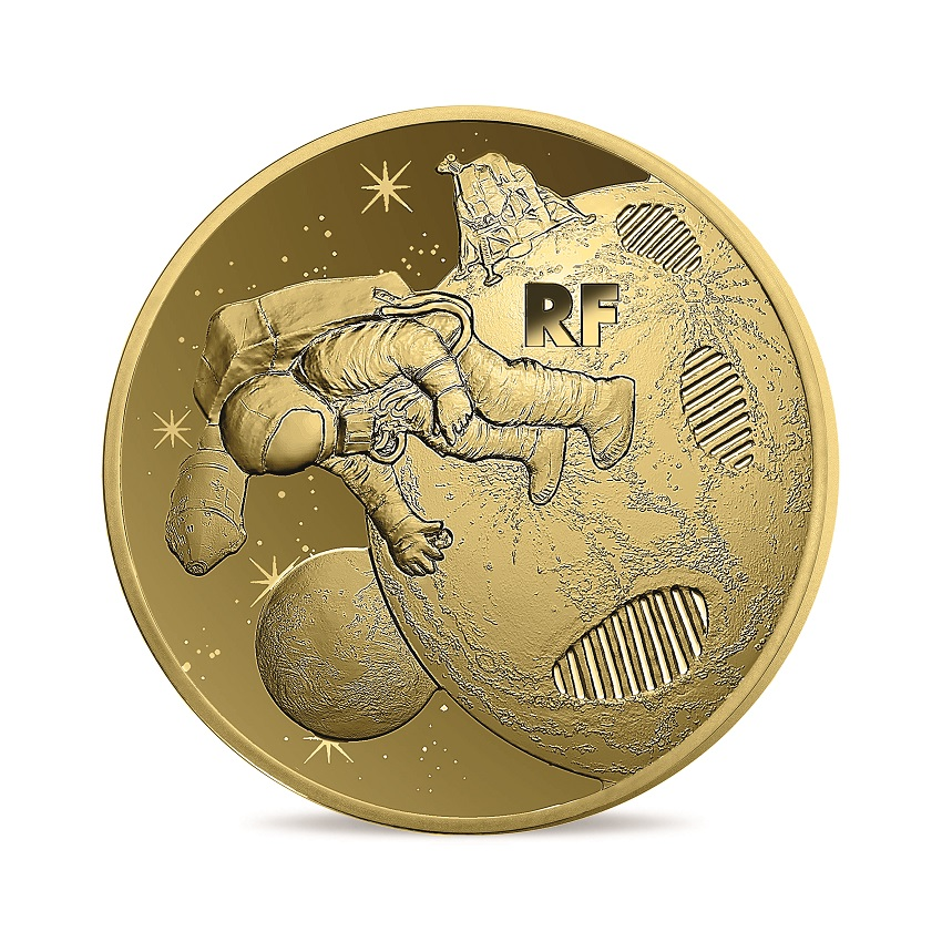50 euro France 2019 Proof gold - First step on the moon Obverse (zoom)