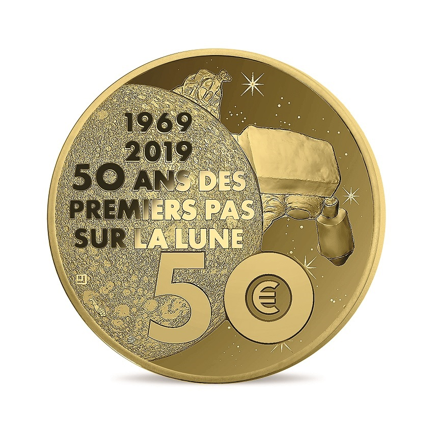 50 euro France 2019 Proof gold - First step on the moon Reverse (zoom)