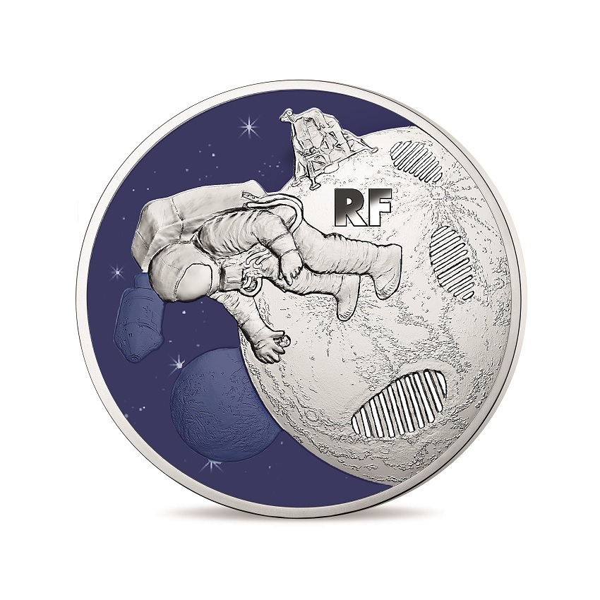 50 euro France 2019 Proof silver - First step on the moon Obverse (zoom)