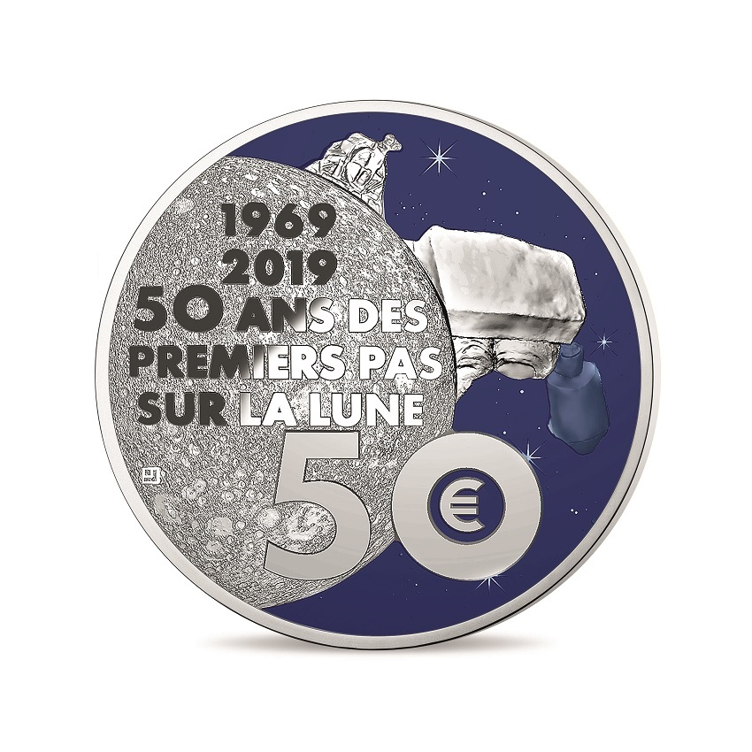 50 euro France 2019 Proof silver - First step on the moon Reverse (zoom)