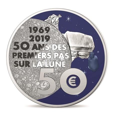 50 euro France 2019 argent BE - Premiers pas sur la lune Revers