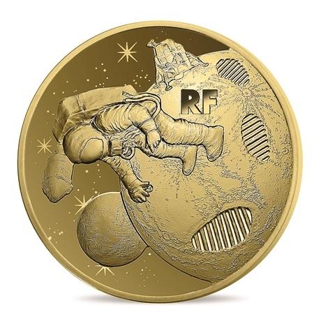 50 euro France 2019 or BE - Premiers pas sur la lune Avers