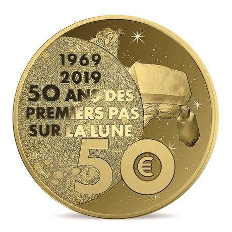 50 euro France 2019 or BE - Premiers pas sur la lune Revers