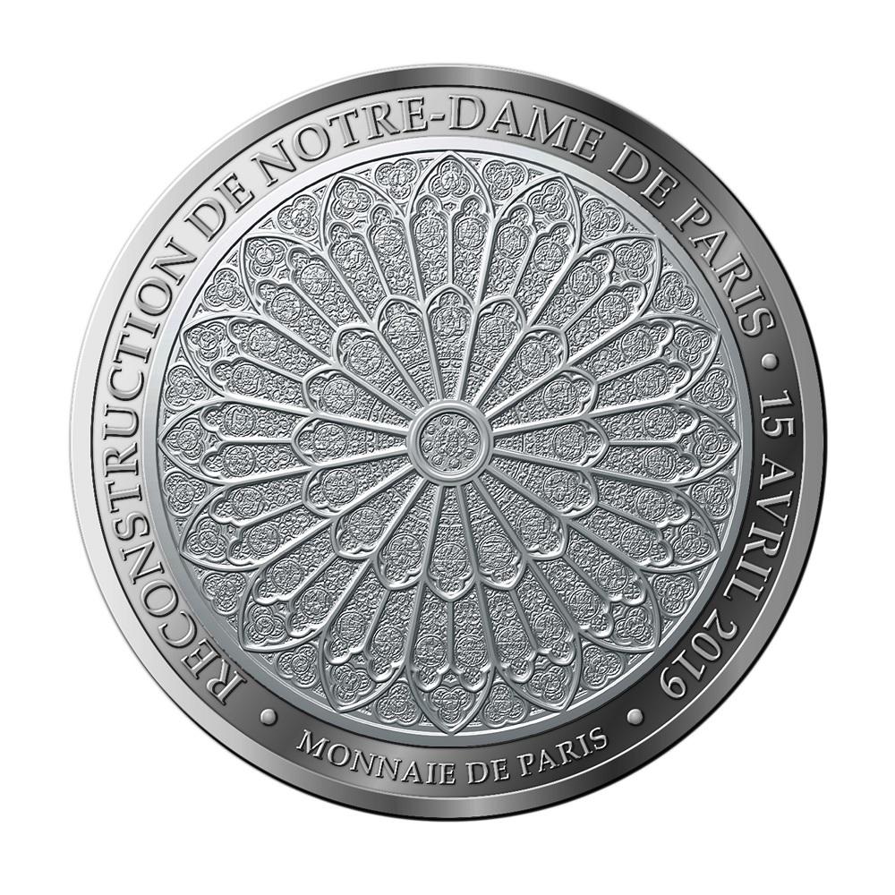 (FMED.Méd.MdP_.Ag_.100113412400B0) Silver medal Reconstruction of Notre-Dame de Paris Reverse (zoom)