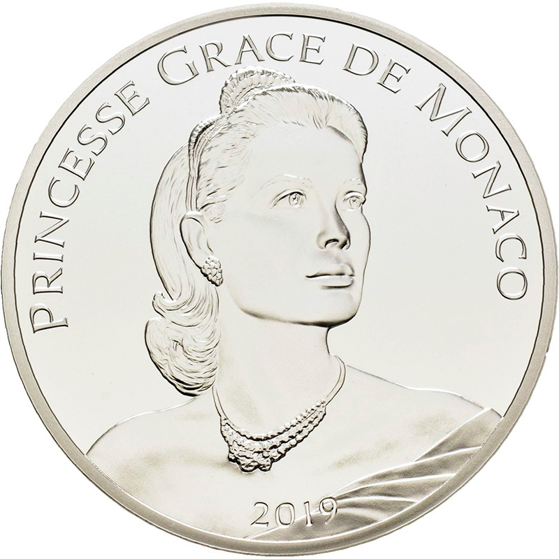 10 euro Monaco 2019 Proof silver - Princess Grace Kelly Obverse (zoom)