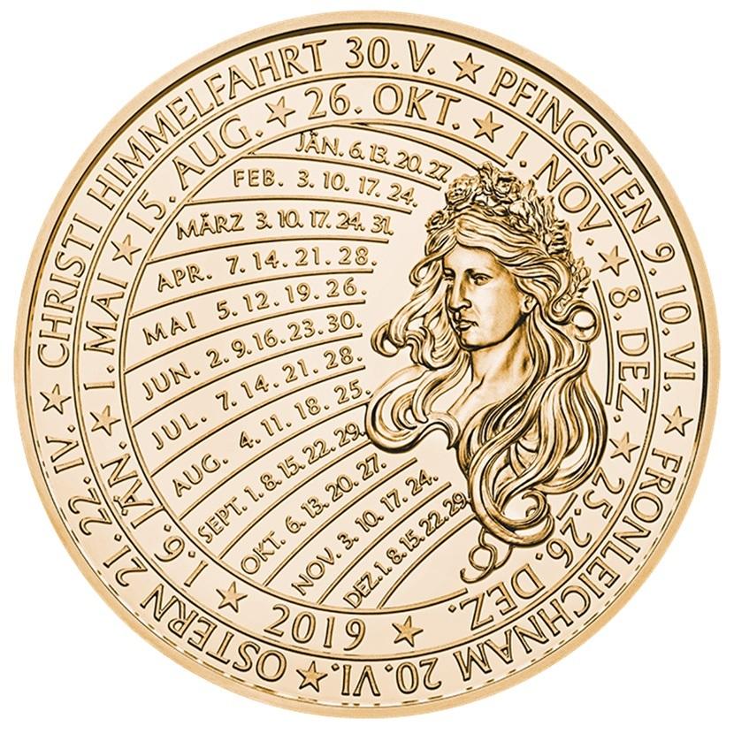 (MED01.Méd.MünzeÖ.2019.CuSn_.23745) Bronze medal Calendar 2019 Reverse (zoom)