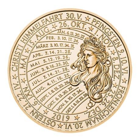 (MED01.Méd.MünzeÖ.2019.CuSn.23745) Médaille bronze - Calendrier 2019 Revers
