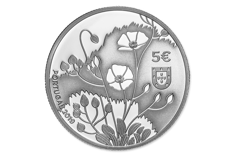 5 euro Portugal 2019 Proof silver - Helianthemum Obverse (zoom)