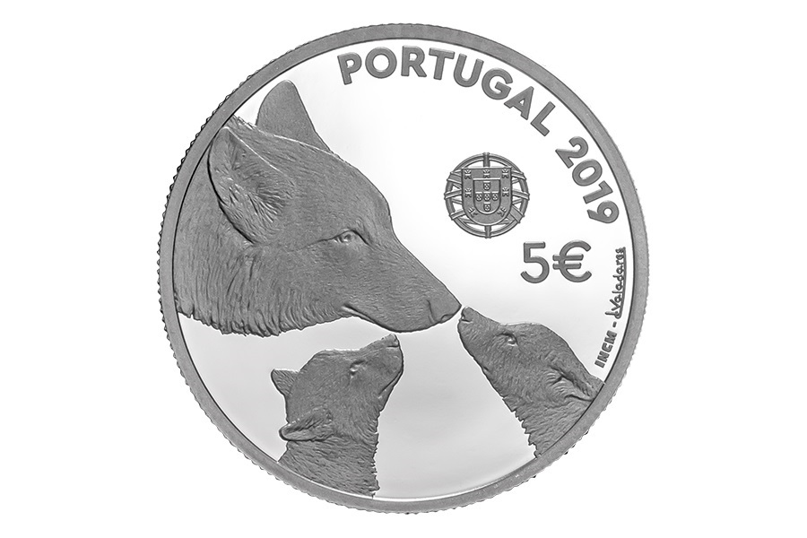 5 euro Portugal 2019 Proof silver - Iberian wolf Obverse (zoom)