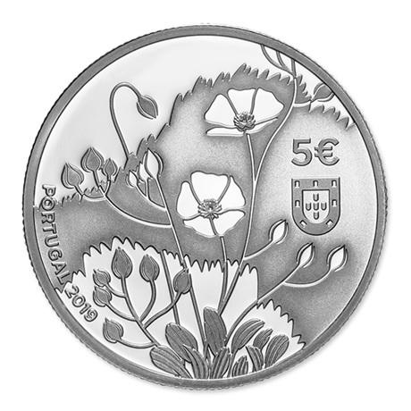5 euro Portugal 2019 argent BE - Hélianthème Avers