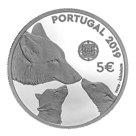 5 euro Portugal 2019 argent BE - Loup ibérique Avers