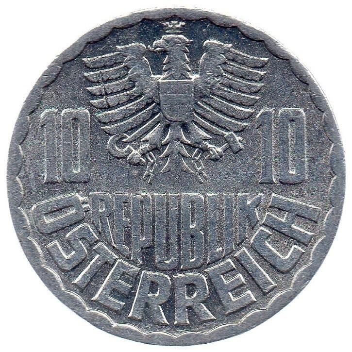 (W018.010.1975.1.spl_.000000001) 10 Groschen Eagle 1975 Obverse (zoom)