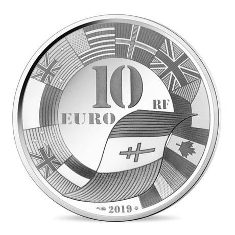 10 euro France 2019 argent BE - Débarquement allié en Normandie Revers