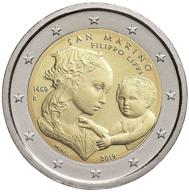 2 euro commemorative coin San Marino 2019 BU - 550th anniversary of the death of Filippo Lippi (zoom)