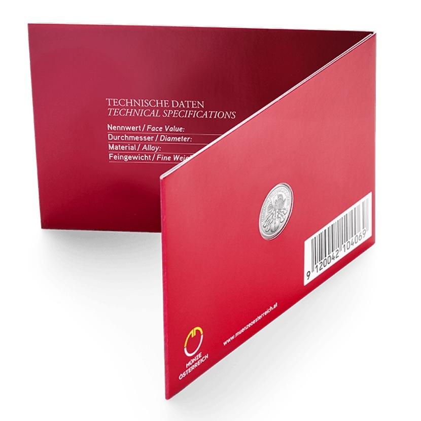 4 euro Austria 2019 0.04 ounce platinum - Vienna Philharmonic Orchestra (blister's back) (zoom)