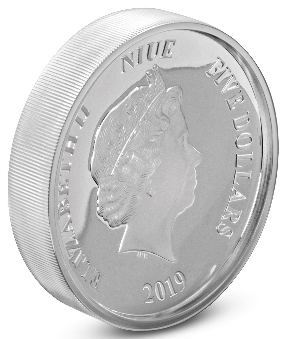 5 dollars Niue 2019 2 oz Proof silver - Donald Duck Obverse (zoom)