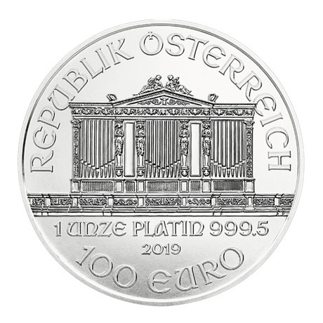 (EUR01.10000.2019.1.pt.bullco.21721) 100 euro Autriche 2019 1 once platine - Philharmonique Avers
