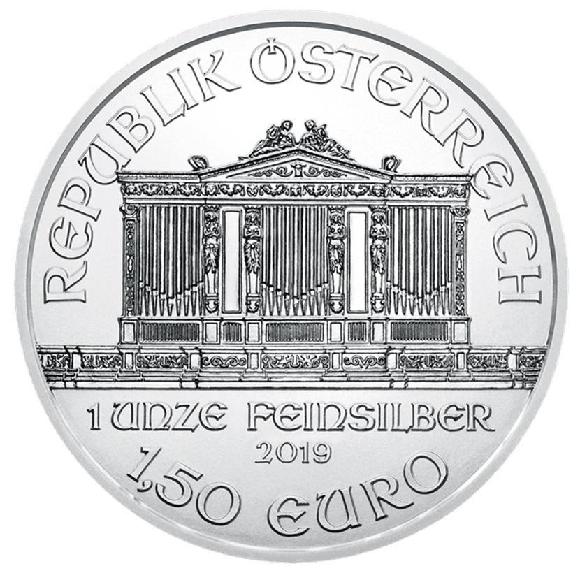 (EUR01.150.2019.1.ag_.bullco.20341) 1.50 euro Austria 2019 1 ounce fine silver - Philharmonic Obverse (zoom)